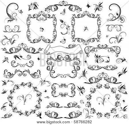Set of decorative frame and design element