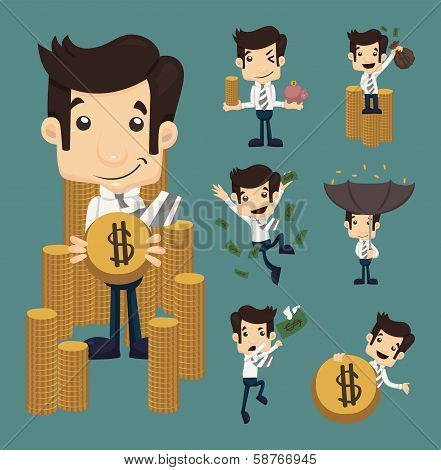 Set Of Businessman Make Money Characters Poses