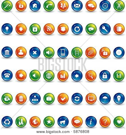 Orange Blue And Green Button Icons.