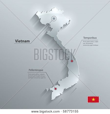 Vietnam map flag glass water card paper 3D vector