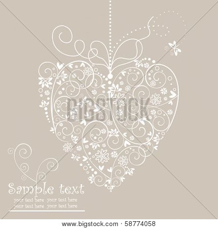 Retro postcard with heart shape