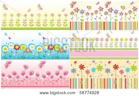 Seamless floral cute borders