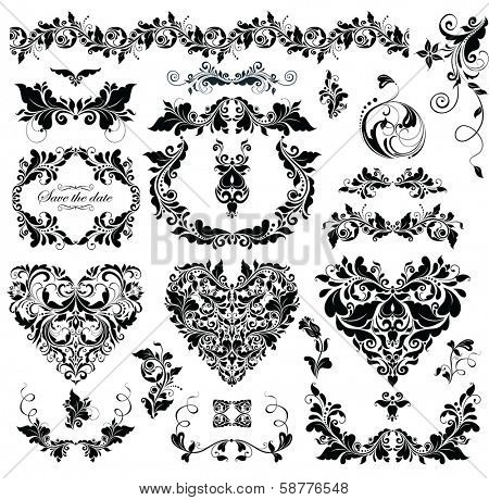 Floral design with heart shapes (black and white)
