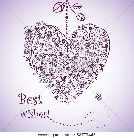Vintage greeting postcard with heart shape