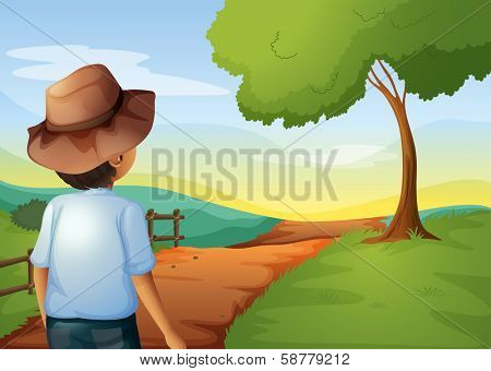 Illustration of a backview of a young farmer