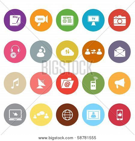 Media Flat Icons On White Background