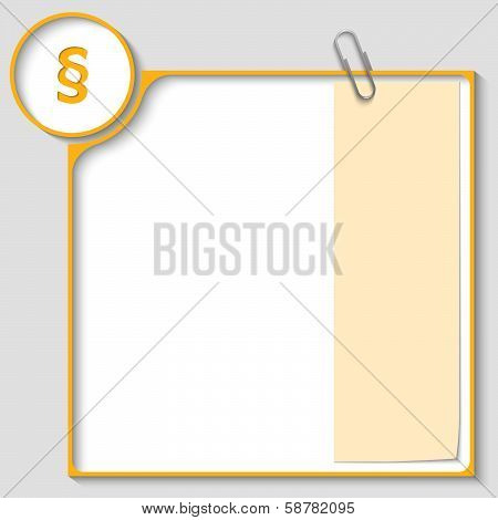 Yellow Frame For Text With A Paragraph And Notepaper