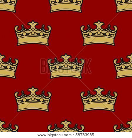 Seamless pattern of golden crowns