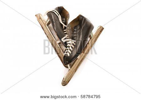 Used male ice skates isolated over white background