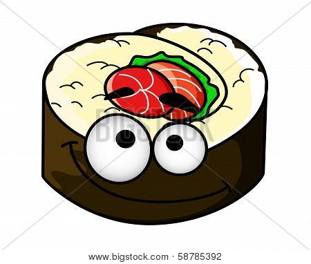 Fun portion of cartoon sushi