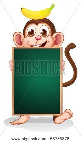Illustration of a monkey with a banana on his head holding an empty blackboard on a white background