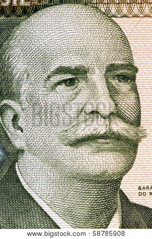BRAZIL - CIRCA 1981: Jose Paranhos, Baron of Rio Branco (1845-1912) on 1000 Cruzeiros 1981 Banknote from Brazil. Brazilian diplomat, geographer, historian, monarchist, politician and professor.
