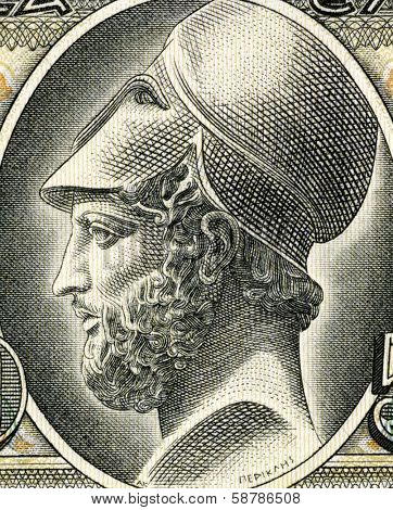 GREECE - CIRCA 1955: Pericles (495-429 BC) on 50 Drachmai 1955 Banknote from Greece. Most prominent and influential Greek statesman, orator and general of Athens during the Golden Age.