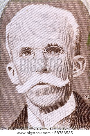 BRAZIL - CIRCA 1987: Rui Barbosa (1849-1923) on 10 Cruzados 1987 Banknote from Brazil. Brazilian writer, jurist, and politician.