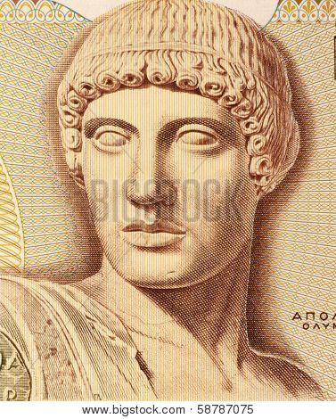 GREECE - CIRCA 1987: God Apollo on 1000 Drachmes 1987 Banknote from Greece. The god of light and the sun, truth and prophecy, medicine and healing, archery, music, poetry, arts and more.