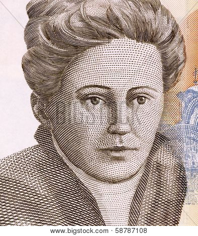 SERBIA - CIRCA 2011: Nadezda Petrovic (1873-1915) on 200 Dinara 2011 Banknote from Serbia. Serbian painter.
