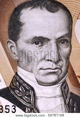 ECUADOR - CIRCA 1998: Vicente Rocafuerte (1783-1847) on 10000 Sucres 1998 Banknote from Ecuador. President of Ecuador during 1834-1839.