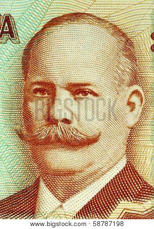 NICARAGUA - CIRCA 2006: Miguel Larreynaga (1772-1847 ) on 20 Cordobas 2006 Banknote from Nicaragua. Nicaraguan philosopher, humanist, lawyer and poet.