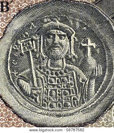 GREECE - CIRCA 1953: Justinian I (482-565) on 500 Drachmai 1953 Banknote from Greece. Byzantine Emperor during 527-565.