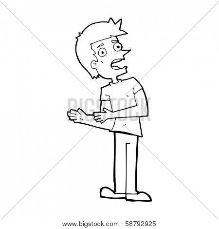 cartoon man making excuses