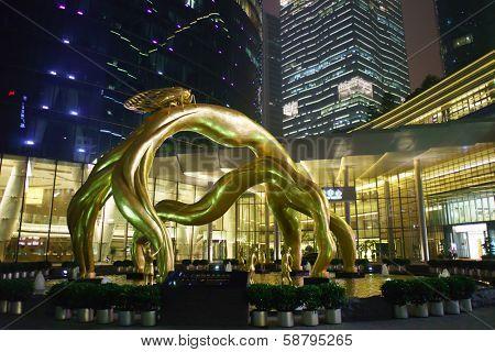 GUANGZHOU, CHINA - MAY 17: area near Guangzhou International Finance Centre, IFC on May 17, 2013. IFC is a 103-storey, 438.6 m skyscraper at Zhujiang Avenue West in the Tianhe District of Guangzhou