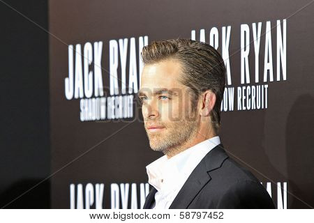 LOS ANGELES - JAN 15: Chris Pine at the premiere of Paramount Pictures' 'Jack Ryan: Shadow Recruit' at TCL Chinese Theater on January 15, 2014 in Los Angeles, CA