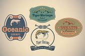 Set of retro-styled seafood labels including an image of tiger shrimps. Editable vector.