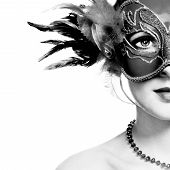 pic of venetian carnival  - The beautiful young woman in mysterious venetian mask - JPG