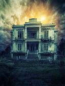 stock photo of abandoned house  - Old and spooky old house - JPG