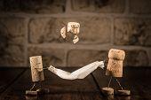 stock photo of midget  - Concept Family have fun wine cork figures - JPG