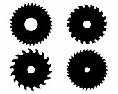 pic of sawing  - Black silhouettes of circular saw blades - JPG