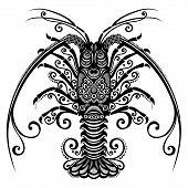 foto of lobster  - Vector Ornate Sea Spiny Lobster - JPG