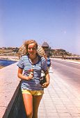 Vintage photo (scanned reversal film) of young girl in Nesebar, Bulgaria (1972)