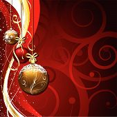 image of christmas  - Hanging Christmas baubles on a decorative background - JPG