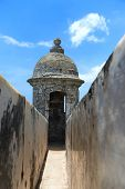 Turret at historical El Morro fort in Old San Juan, Puerto Rico
