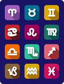 pic of pisces horoscope icon  - Colourful set of twelve flat icons showing the signs of the zodiac in relief on a blue background - JPG