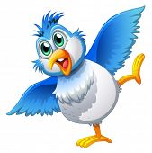 stock photo of webbed feet white  - Illustration of a cute bird on a white background - JPG