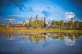 picture of raider  - Famous Angkor Wat temple complex in sunset - JPG