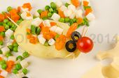foto of olive shaped  - Veggie salad in the shape of a mouse colorful and creative kid food - JPG