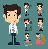 image of economizer  - Set of businessman make money characters poses eps10 vector format - JPG