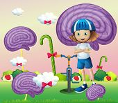 Illustration of a young female biker surrounded with giant spiral lollipops