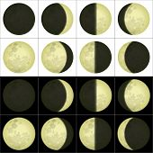 stock photo of lunate  - Space illustration of main lunar phases on black and white background - JPG