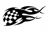Checkered black and white motor sport flags
