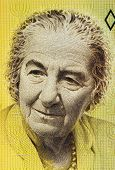 ISRAEL - CIRCA 1992: Golda Meir (1898-1978) on 10 New Sheqalim 1992 Banknote from Israel. 4th Prime
