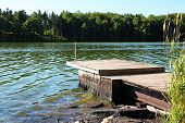 image of dock a pond  - Pond with Boat Dock - JPG