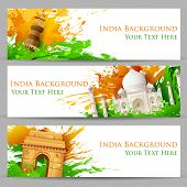 picture of indian flag  - illustration of set of banner for colorful India with monument - JPG