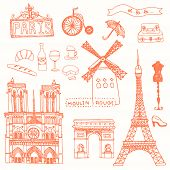 stock photo of notre dame  - Set of Paris symbols made in vector - JPG