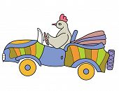 stock photo of laughable  - chicken driving cheerful colored car with folding top - JPG