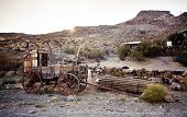 Horse drawn wagon in the Mojave desert.