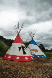picture of tipi  - Two tipi for Indian camp outdoor in nature - JPG